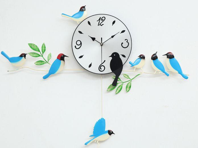 A060 стены часы часы живопись птиц домой декора новый дизайн садовые качели синий оранжевый красный