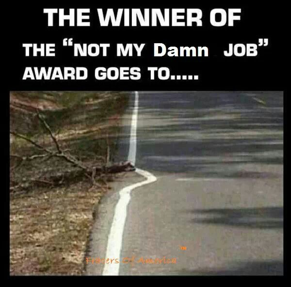 """The winner of the """"not my damn job"""" award goes to... #funny #photo #road #paint"""