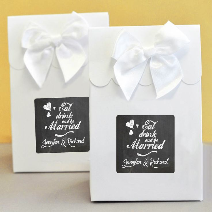 Eat Drink Be Married Wedding Party Bag -  Favour Boxes (Set of 12) - Custom Printed Bomboniere