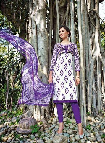 Jinaam Acromatic 8396 Purple Color Cotton Designer Suit