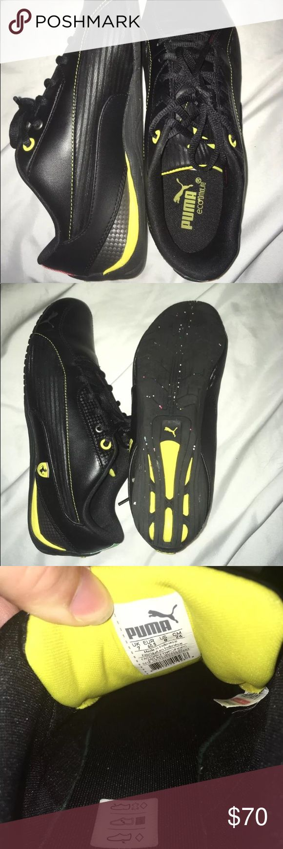 Men's Puma Ferrari Black Yellow Drift Cat sz 8 BMWT Men's Puma Ferrari Sneakers Shoes Black And Yellow Drift Cat size 8 ***Brand new worn once to try on (that's why there's stuff in the sole grips)*** Puma Shoes Sneakers