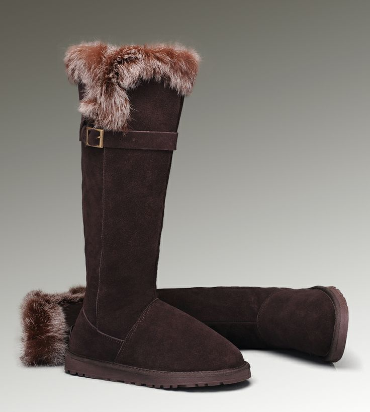 UGG Tall Fox Fur 1852 Chocolate Boots