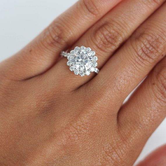 Round Halo Engagement Ring in White Gold, Floral Halo Engagement Ring, Micropave…