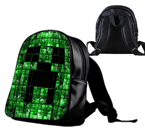 Minecraft Creeper Face  Backpack/Schoolbags for by Wonderfunny #Minecraft #backpack #schoolbags #gift #birthday
