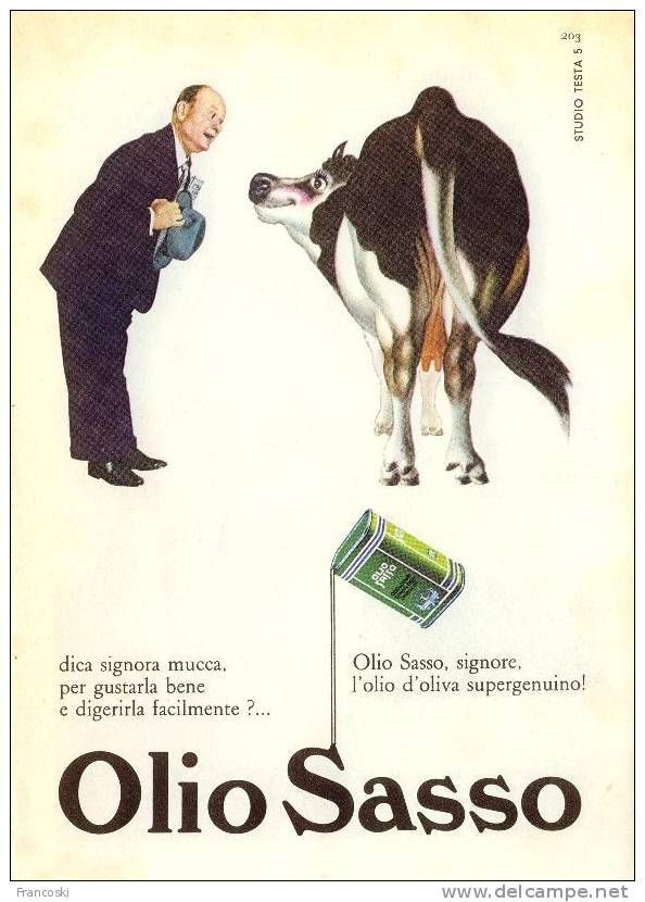 "Pubblicità ""Olio Sasso"" Design Testa-1960"
