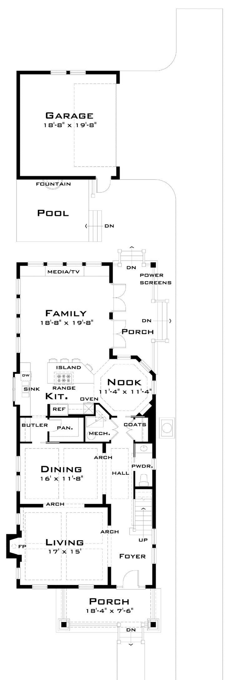 First Floor Plan of Narrow Lot   House Plan 67538