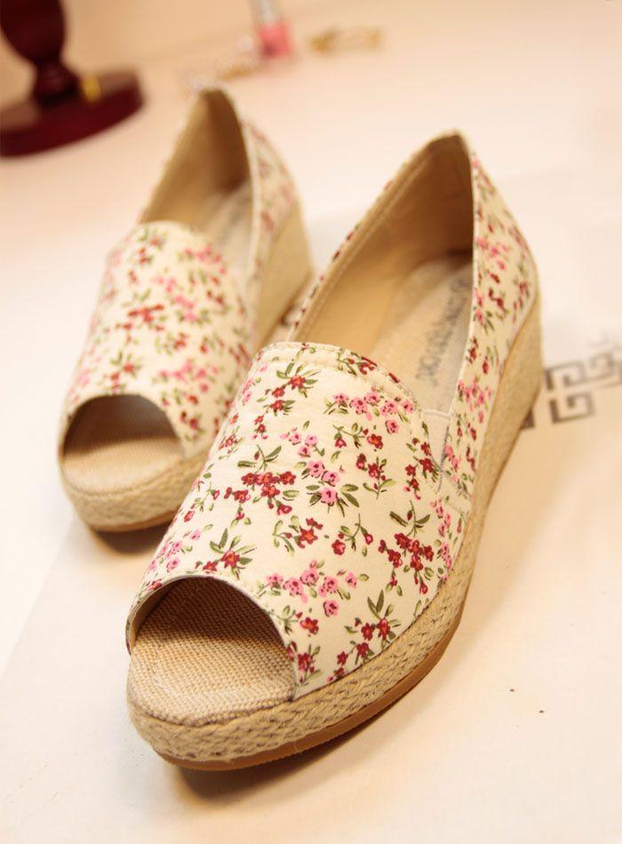 2014 моделей весны свежий маленький цветочный льняная ткань Этническая нижней склон с головой рыбы обувь - Taobao
