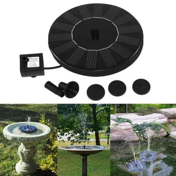 Outdoor Solar Powered Bird Bath Water Fountain Pump For Your Garden   AUTOMATIC OPERATION: Simply place the solar panel in sunlight to auto start, great water circulation for oxygen4 NOZZLE SPRAY DESIGNS: Package includes 4 nozzles sprays, each with its own unique designFLOATING & SUBMERGED FEATURE: Choose to float or submerge this solar powered fountain underwater, suitable for bird baths, aquariums and/or small pondsEASY TO CLEAN: Easily detach the brushless pump as neededSOL...