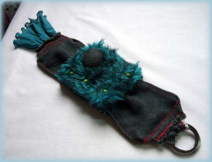 Handmade by Judy Majoros - Turquoise Beaded-faux fur-denim bracelet -cuff, Recycled bracelet