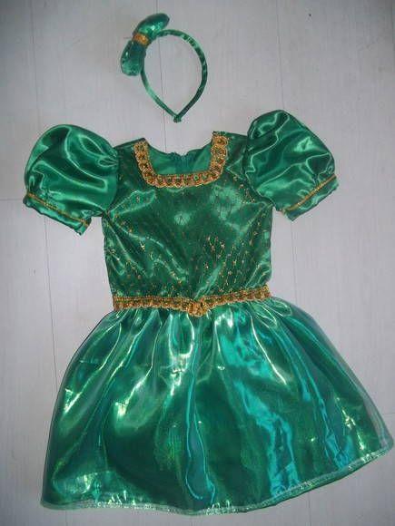 VEstido da princesa Fiona do filme Sherek. Tamanhos: 1,2,4,6 e 8 anos