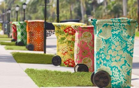 fabric covered trash cans - a very chic HOA?