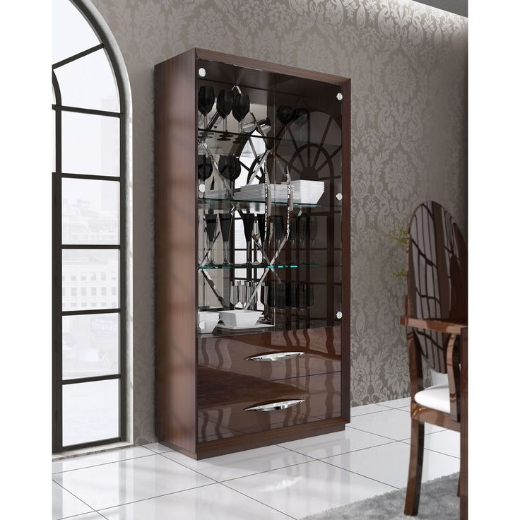 Esf Imports Carmen 2 Door Curio Cabinet High Gloss Walnut Glass Upholstered Chairs Home Decor Design