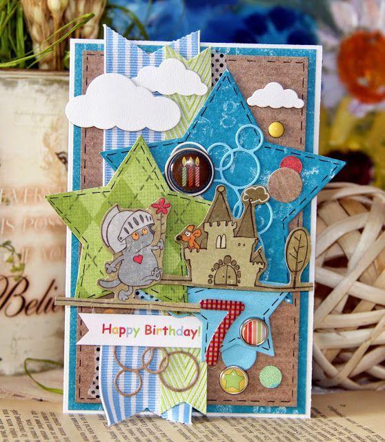 Днем рождения, открытка мальчику скрап