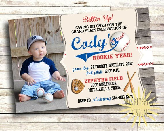 Baseball Birthday Invitation  1st Birthday  Rookie Year