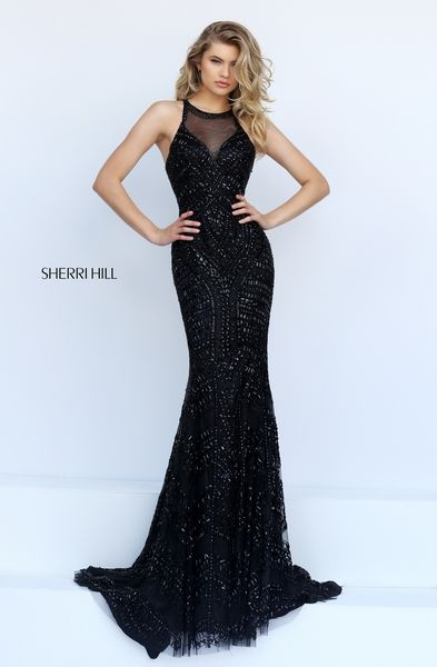 Sherri Hill Prom little black dress! Spring 2016 # 1959 www.thecastlepromandbridal.com Colors: black, gunmetal, jade, ruby, silver