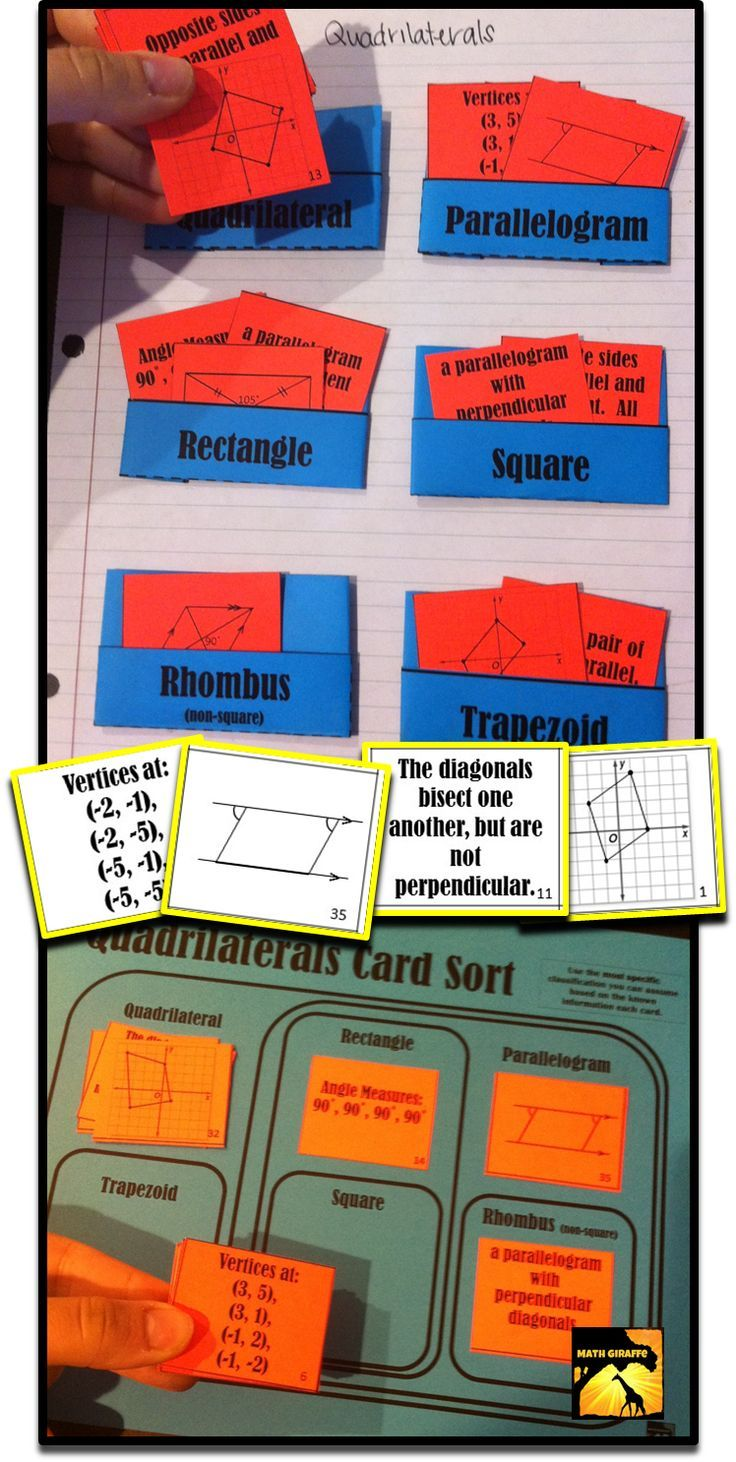 Sorting Activity for Quadrilaterals - combines properties of parallelograms, rhombi, rectangles, squares, and trapezoids (& their diagonals) - mix of diagrams, phrases, measurements and more