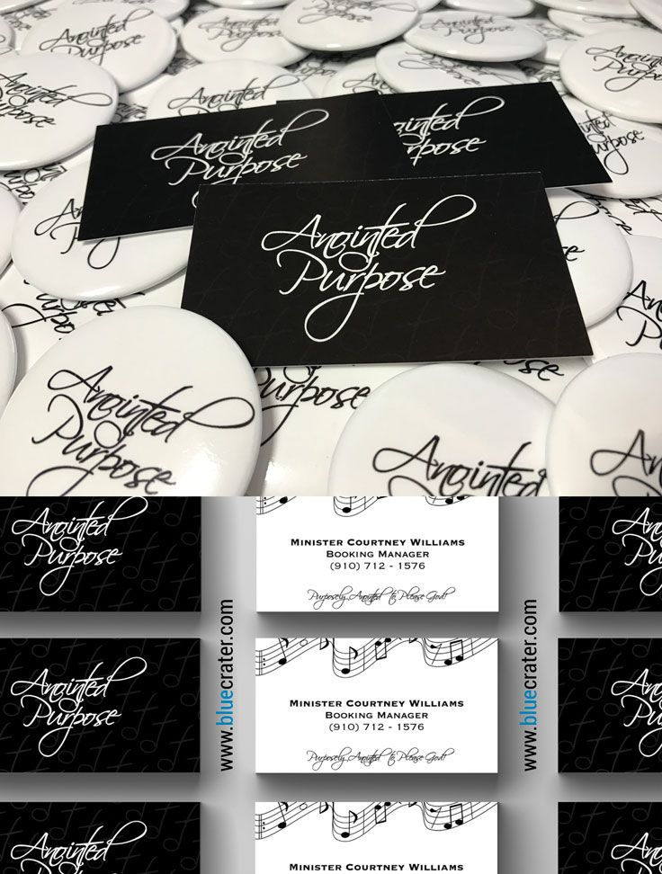 Custom Round Buttons and Business Card Design for Anointed Purpose, a gospel group in Shelby, North Carolina. Contact us today to get your custom designs and promo merch! #bluecrater #thebluecrater @thebluecrater