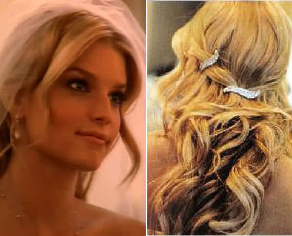 bridesmaid hairstyle pulled to the side | Wedding Trends: Beautiful Celebrity Wedding Hairstyles