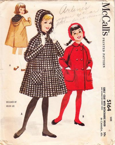 McCall's #5164: Girls' Coat With Detachable Hood