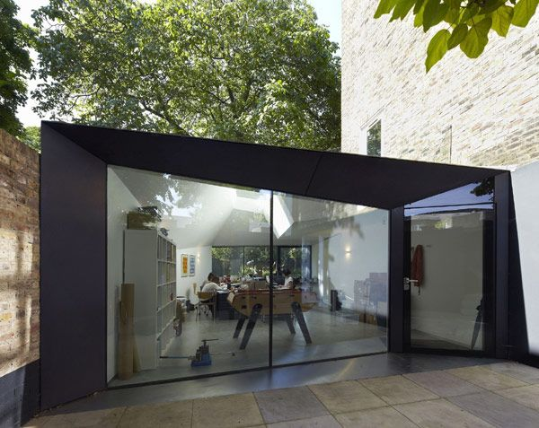 Origami-like redesign and extension of Victorian Villa in Islington, London by Alison Brooks Architects. Rear walls don't have to be straight - this can help with privacy and direct sun issues.