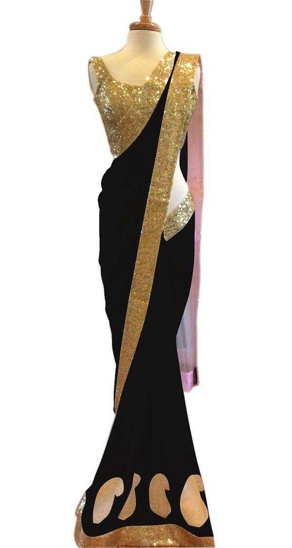 New party wear black designer saree online.