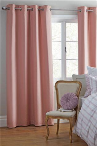 Dusky Pink Cotton Blackout Eyelet Curtains