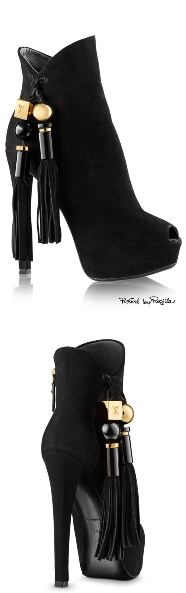 Louis Vuitton ~ Black Suede High Heel Boots w tassel, 2015
