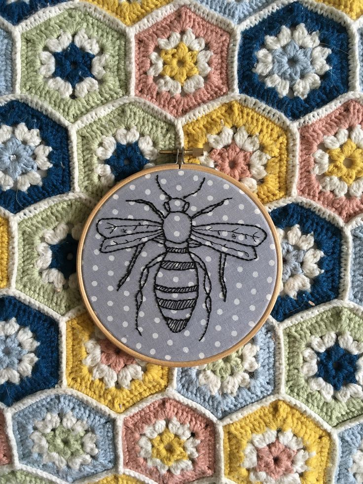 Embroidered Bee Hoop on Spotted Grey Fabric by OffthebeatentrackCo on Etsy