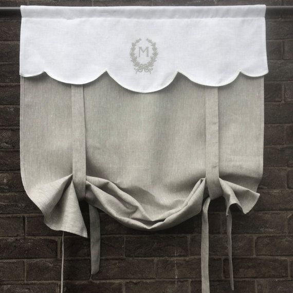 Natural grey linen curtain embroidered with a single letter monogram. It can be hung short as a window valance or longer to cover a window. Please message me if you would like a longer length. > Panel is 40 inches (101 cm) tall, choose your width (18-48) > Includes a single letter monogram If you would like a longer length see this listing https://www.etsy.com/uk/listing/270441094/grey-linen-tie-up-curtain-monogram-door The pretty 100% white linen scallop...