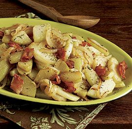 Sautéed Chayote with Sweet Onion and Bacon - Use @LaQuercia Tamworth Bacon for the best flavor!