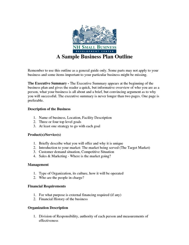 Business Plan Outline Example Idealstalist