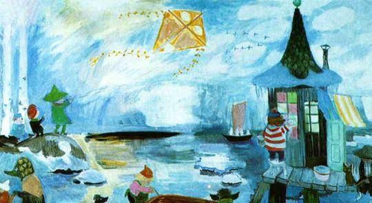 Tove Jansson's murals at the Moomin themed kindergarten in Pori, Finland