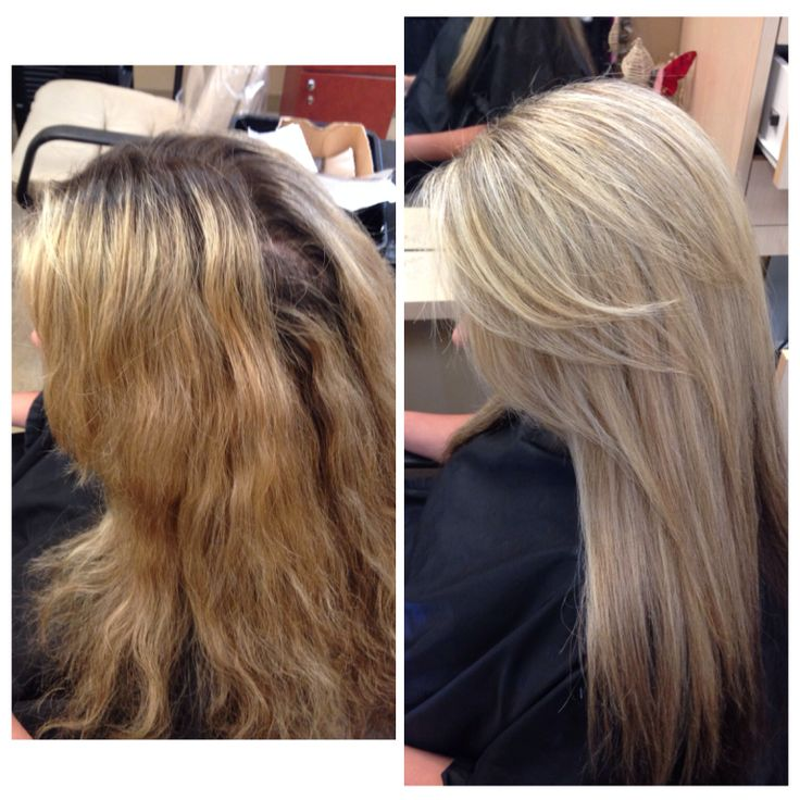 Color correction beige blonde with root lift Laura