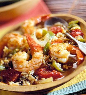 Cajun Shrimp and Rice - Put everything but the shrimp into your slow cooker and let it go for the day. At dinner, add the shrimp, let it heat, then eat!