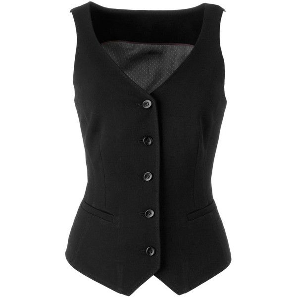 Tall Black Waistcoat - Look Sophisticated In Tall Women's Waistcoat ($24) found on Polyvore