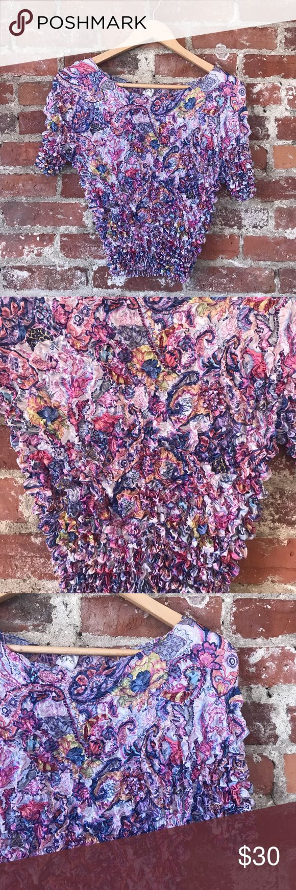 Paisley Y2K Popcorn Shirt NWOT New without tags  Vintage Tops