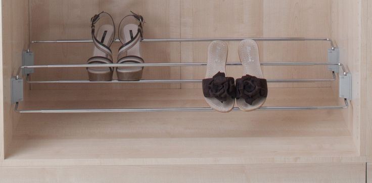 Ambos Side Mount Shoe Racks help maximise use of space and keep your footwear tidy and organised. Chromed steel frame in 480-830mm or 830-1130mm width options fixes to wall or inside wardrobes, cupboards or cloakrooms.  Optional aluminium guide allows for hanging 6 shoe hangers with only 4 screws by attaching shoe hangers to guide frame.