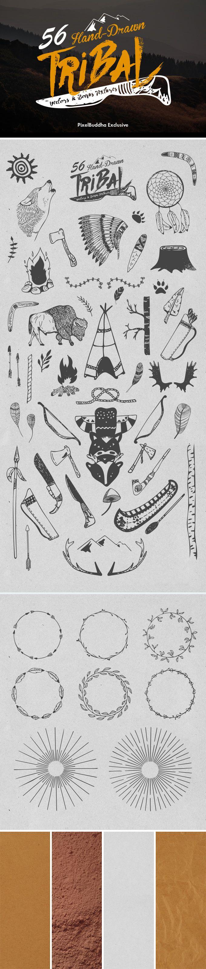 Vectores tribales hechos a mano alzada GRATIS para uso personal/comercial. En formato .AI y .EPS