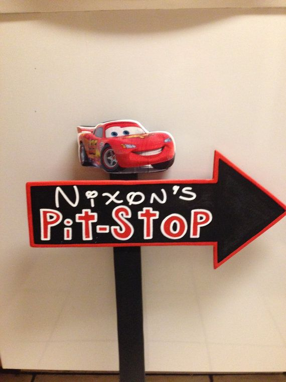 Wood Lightning McQueen Pitstop Sign - Cars Birthday Party ...