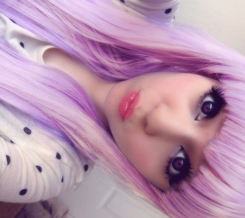 kawaii lilac/lavender hair
