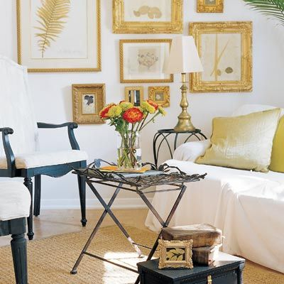 Awesome photo gallery white & gold living room design with gold leaf frames and white