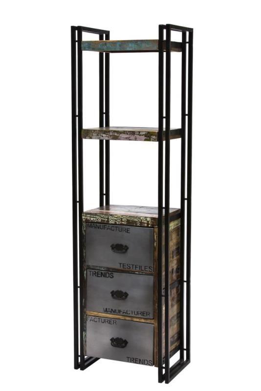 Scaffale stile industrial in offerta, scaffale composto da mensole in legno massello e struttura e cassettoni in ferro. Scaffale vintage in offerta