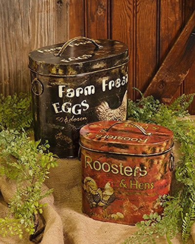 17 Best images about Roostermania on Pinterest French country farmhouse Vintage bread boxes - Primitive Kitchen Canister Sets