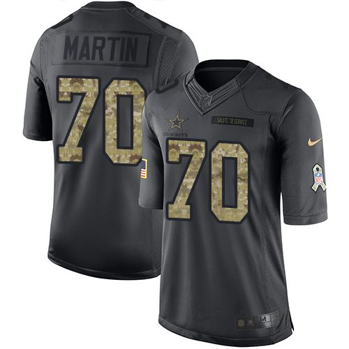 Nike Dallas Cowboys Men's #70 Zack Martin Limited Black 2016 Salute to Service NFL Jersey