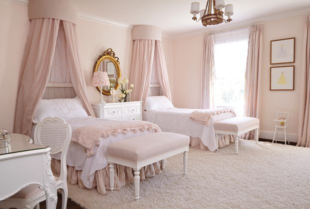 Pretty Shared Bedroom Designs For Girls: Perfect Little Girl Bedroom. #pink #bedroom