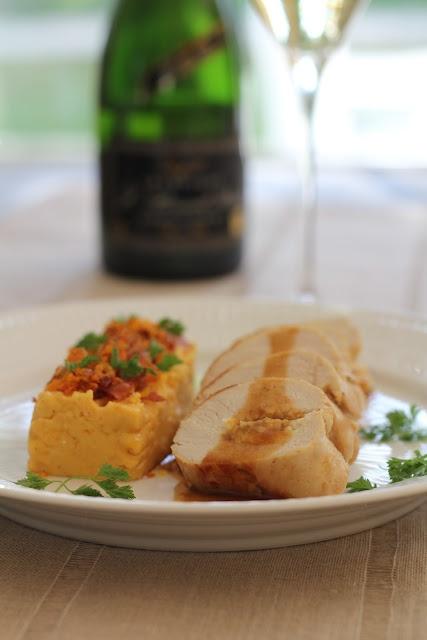 Filet de volaille farci et champagne millésime 2005 de L Bernard – Pitois