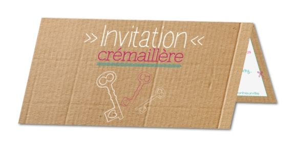 Carte invitation crémaillère Clefs et cartons (TF-145)