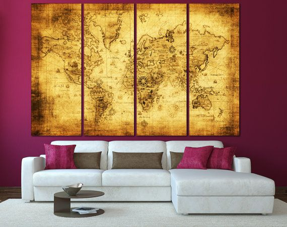 Large Wall Art World Map Canvas Print Living Room Panel Vintage Ancient