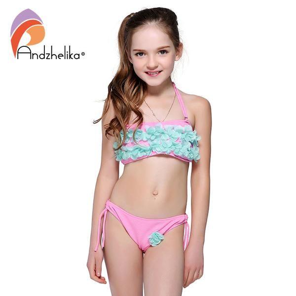 09909005dfb Andzhelika Bikini Children'S Swimwear Solid Flowers Two Piece Kid ...