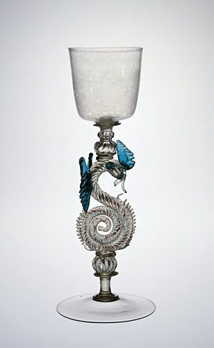 Dragon-Stem Goblet Venice or façon de Venise , 17th century  Non-lead colorless and blue-green glass, free-blown with pattern-molded, applied, and tooled parts
